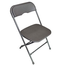 Champ Series Versatile Resin Wedding Folding Chair with Foot Caps - Charcoal Grey