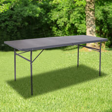 6-Foot Bi-Fold Dark Gray Plastic Folding Table with Carrying Handle