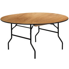 5-Foot Round Wood Folding Banquet Table with Clear Coated Finished Top