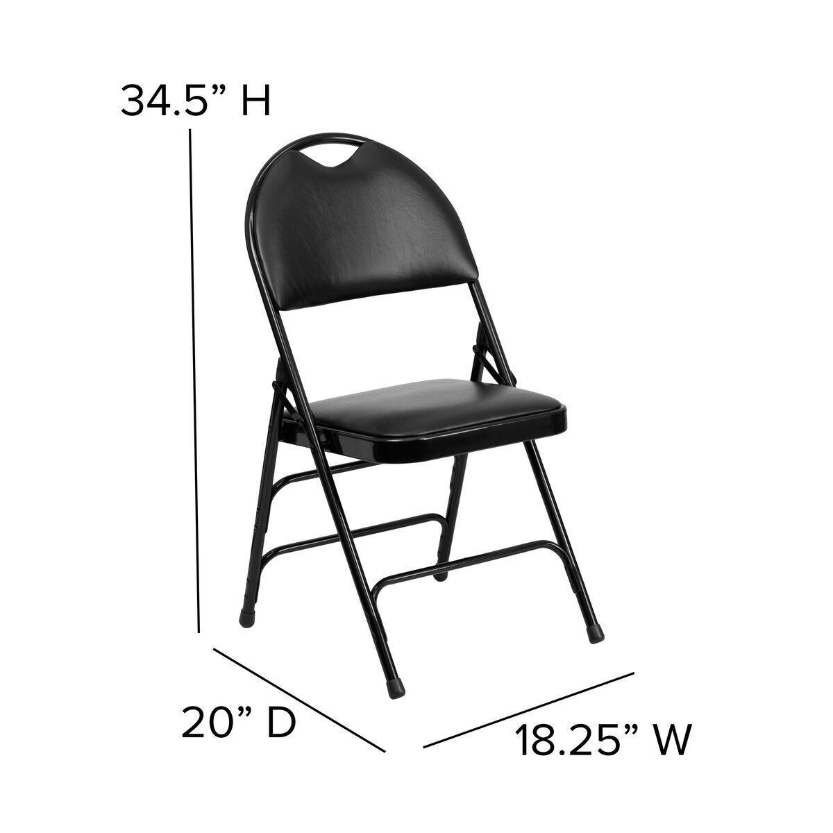 Our Hercules Series Ultra Premium Triple Braced Black Vinyl Metal Folding Chair With Easy