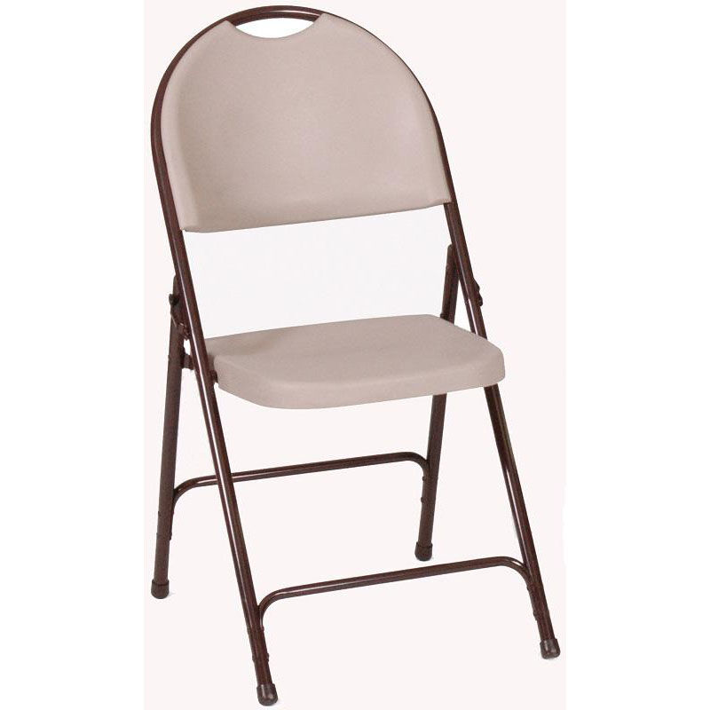 Elegant ... Our Armless Plastic Folding Chair With Brown Steel Frame And Carrying  Handle   Mocha Granite Seat ...