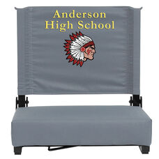 Personalized Grandstand Comfort Seats by Flash - 500 lb. Rated Stadium Chair with Handle & Ultra-Padded Seat, Gray