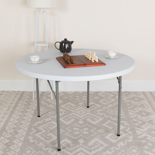 4-Foot Round Granite White Plastic Folding Table
