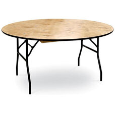 Round Plywood Folding Table with Locking Wishbone Style Legs
