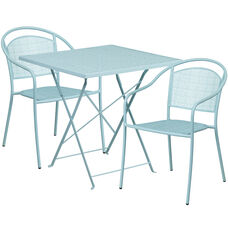 "Commercial Grade 28"" Square Sky Blue Indoor-Outdoor Steel Folding Patio Table Set with 2 Round Back Chairs"