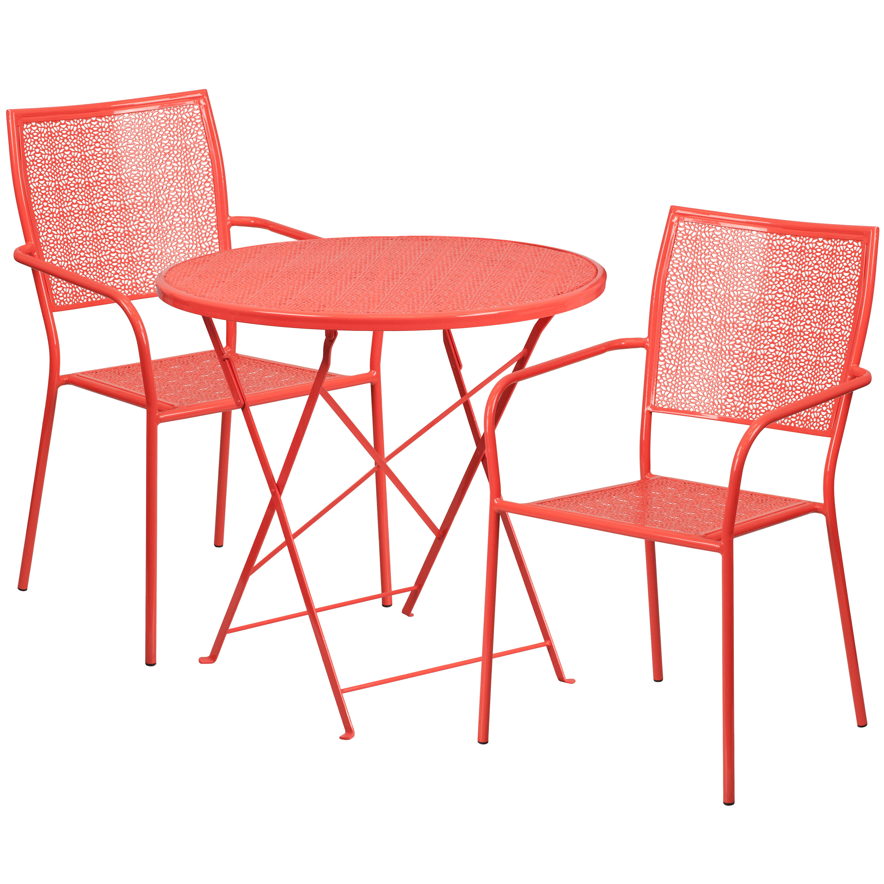 Incroyable ... Our 30u0027u0027 Round Coral Indoor Outdoor Steel Folding Patio Table Set With 2