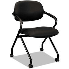 Basyx® VL303 Series Nesting Arm Chair with Black Frame and Casters - Black