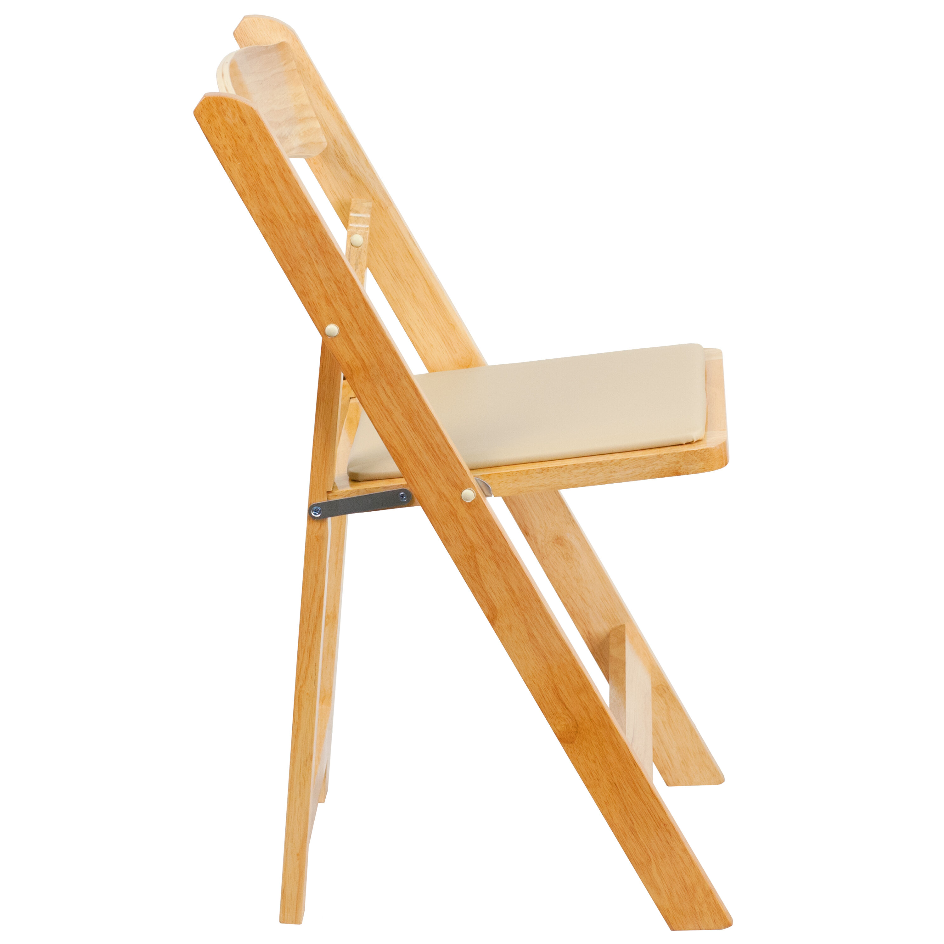 Our HERCULES Series Natural Wood Folding Chair With Vinyl Padded Seat Is On  Sale Now.