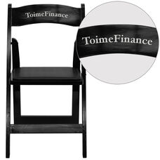 Personalized HERCULES Series Black Wood Folding Chair with Vinyl Padded Seat