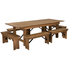 HERCULES Series 8' x 40'' Antique Rustic Folding Farm Table and Six Bench Set