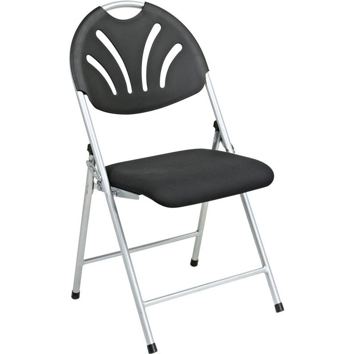 Brilliant Work Smart Plastic Folding Chair With Fan Back And Padded Mesh Seat Set Of 4 Black With Silver Frame Ibusinesslaw Wood Chair Design Ideas Ibusinesslaworg