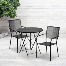 """Commercial Grade 30"""" Round Black Indoor-Outdoor Steel Folding Patio Table Set with 2 Square Back Chairs"""