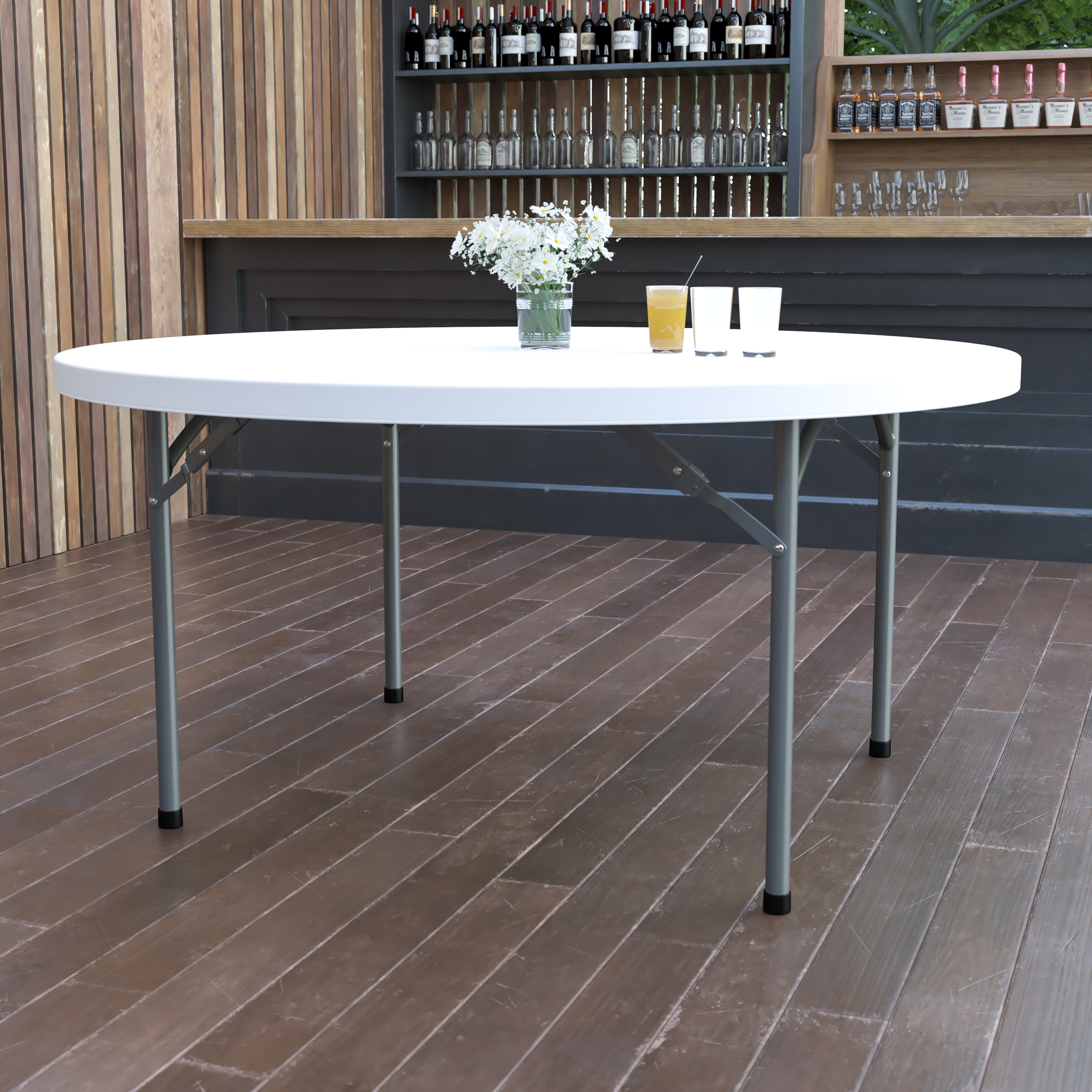 4.97-Foot Round Granite White Plastic Folding Table